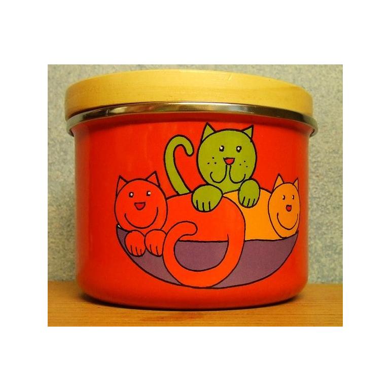 Enameled sugar bowl Cat (orange)