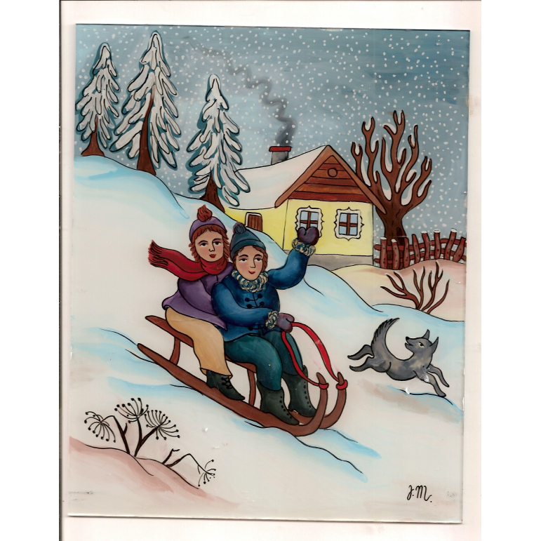 Painting on glass - on a sled