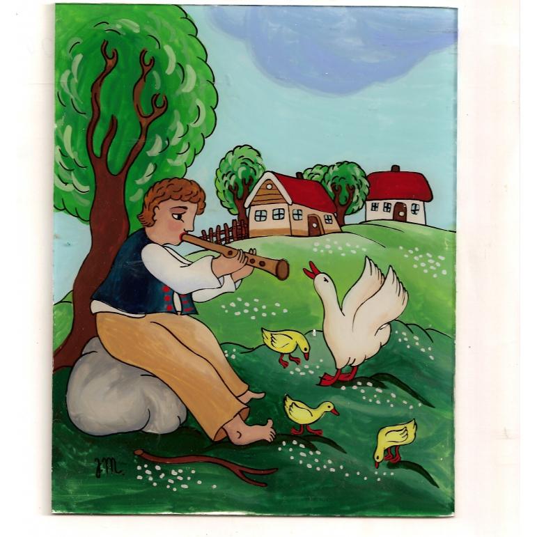 Maľba na sklo -  Pastier husí