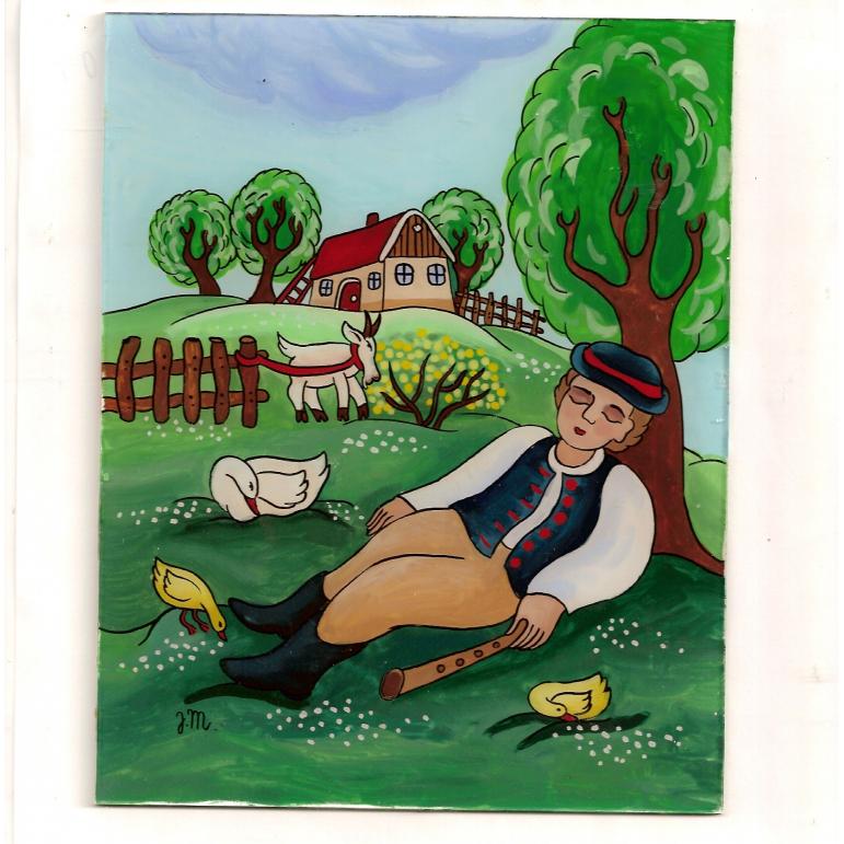 Painting on glass - shepherd goose 2