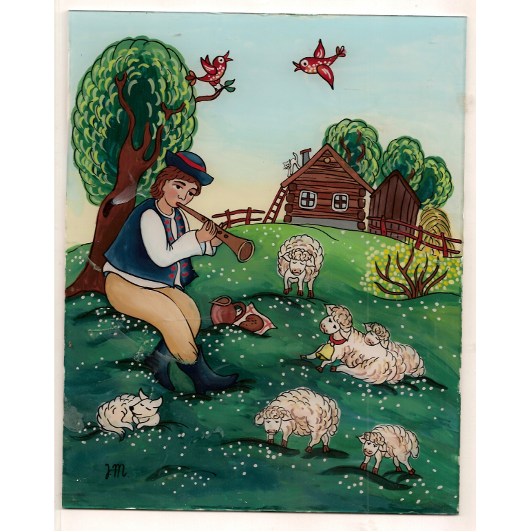 Painting on glass - Shepherd of sheep