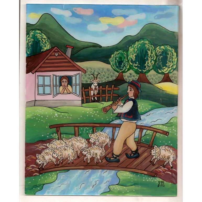 Maľba na sklo -  Pastier oviec 2