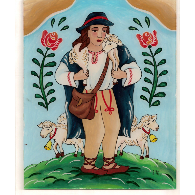 Painting on glass - Shepherd of sheep 4