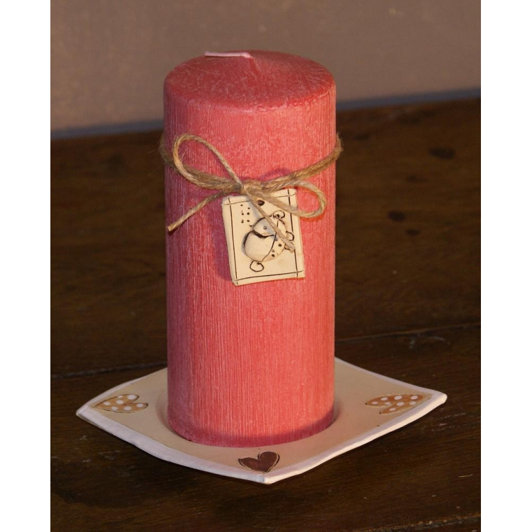 Candle cylinder 70x160 (pink-red)