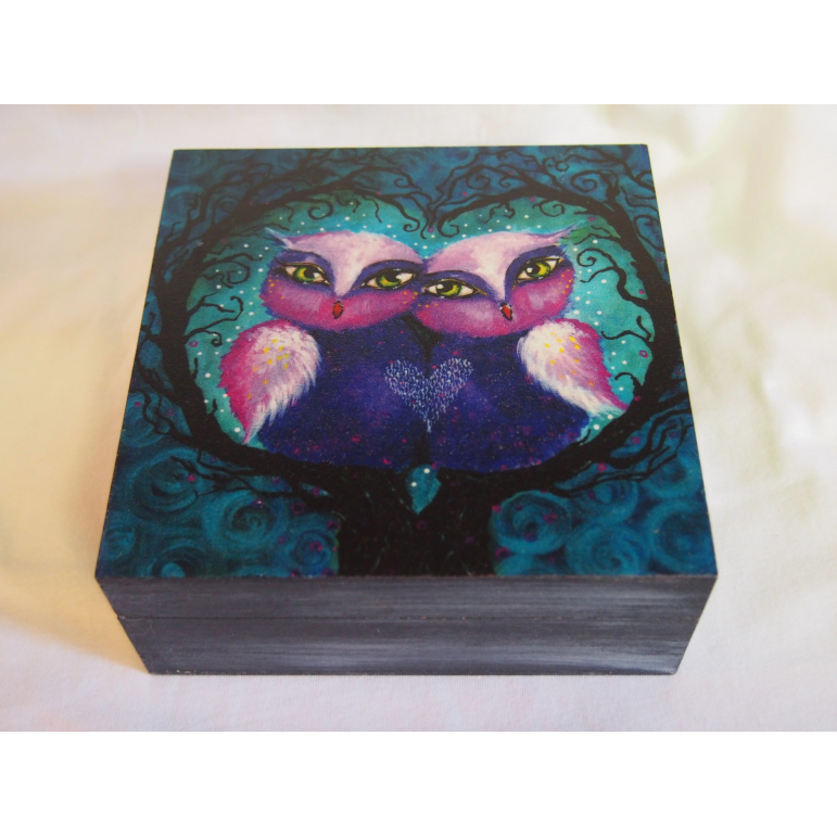 Box painted Owls