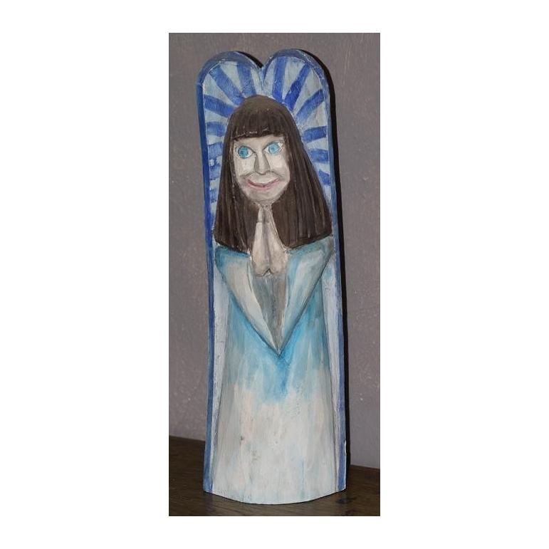 Wooden sculpture Angel (blue)