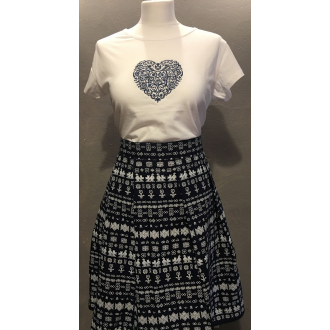 Dámske tričko Folk art (biele s modrým ornamentom)