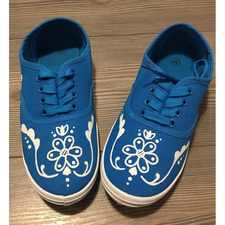 Dámske folklórne tenisky modré