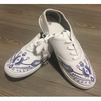 Dámske folklórne tenisky bielo modré 3D