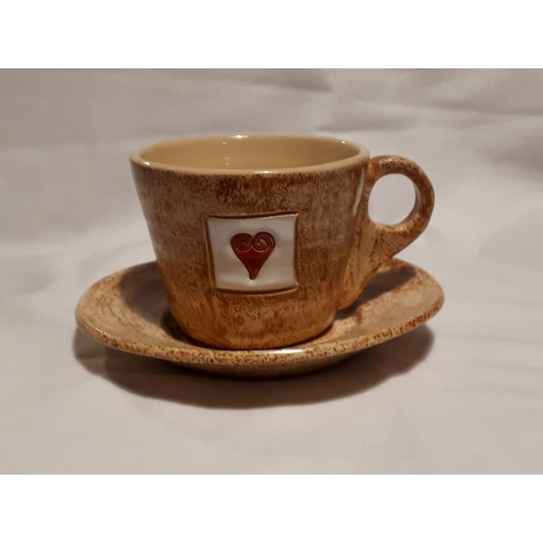 Presso cup with saucer (brown)