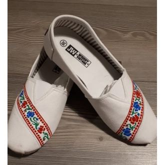 Dámske folklórne baleríny Krpčiatka FolkArt (biele)