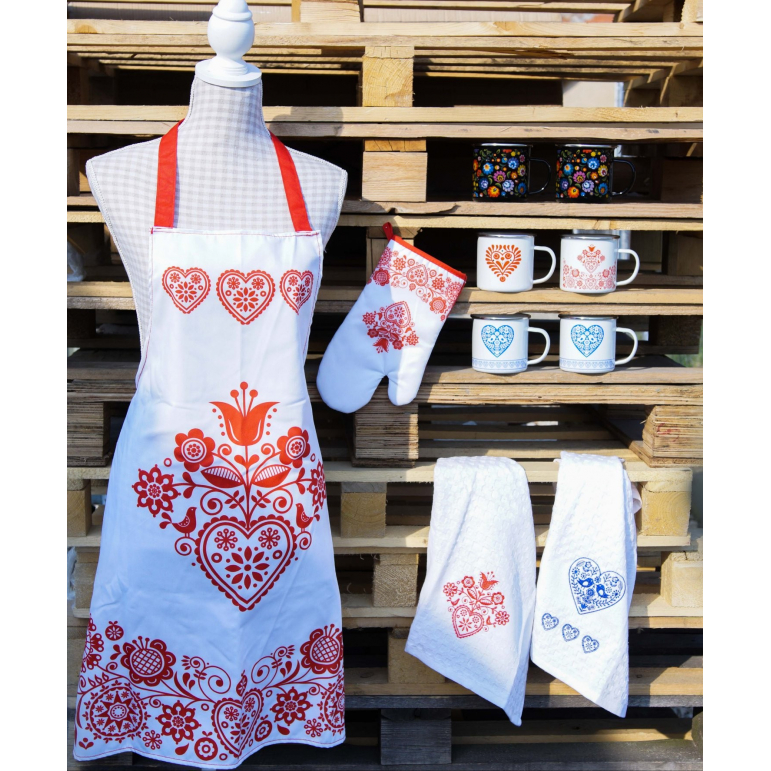 Kitchen apron with glove red