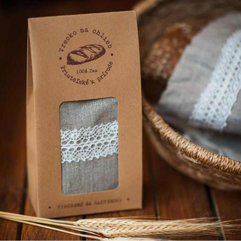 Ľanové vrecko na chlieb s krajkou