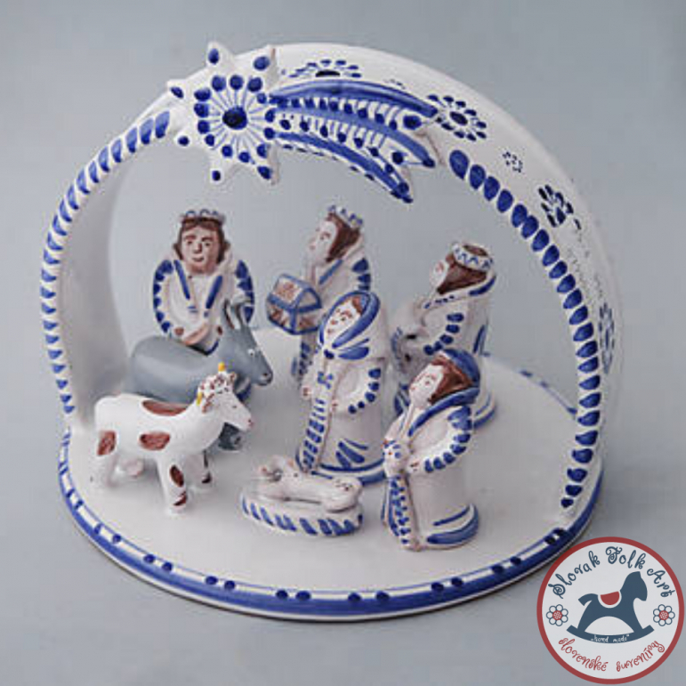 Betlehem majolikový velký (bielo-modrý)