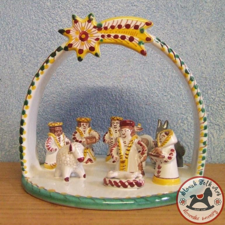 Nativity scene majolica large (yellow)