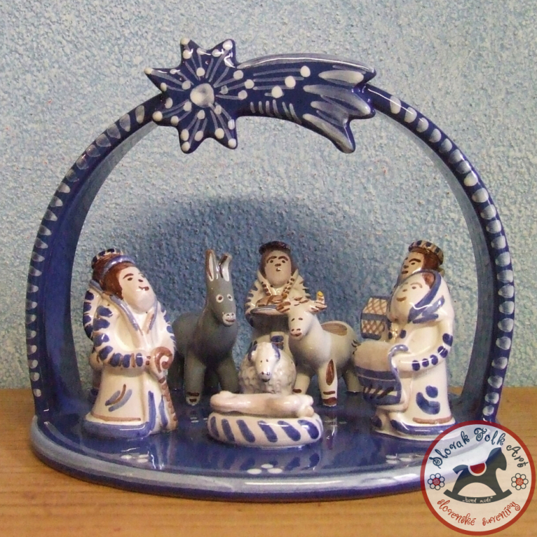 Nativity scene majolica large (blue)