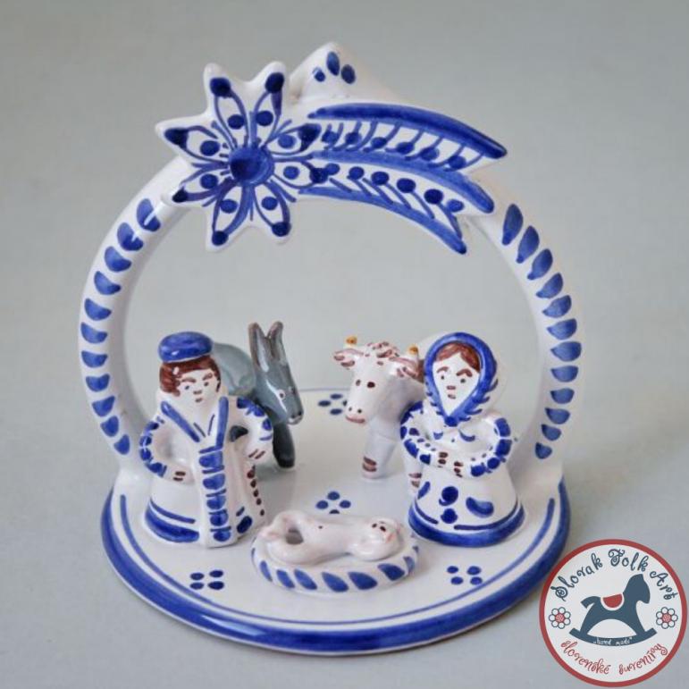 Betlehem majolikový malý bielo-modrý