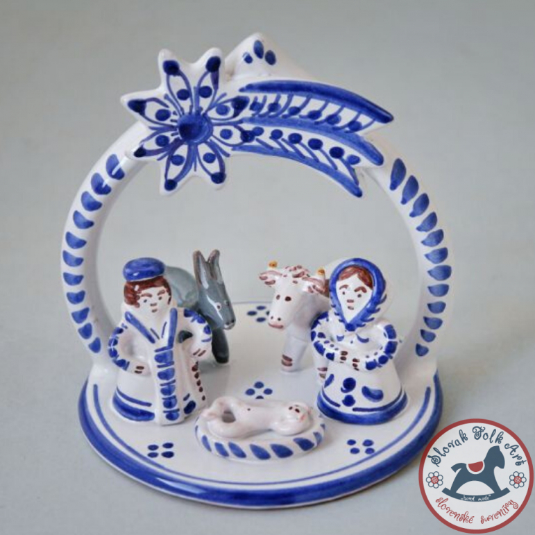 Nativity scene majolica small white-blue