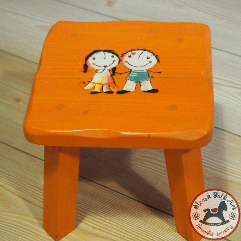 Stolček malý chlapček a dievčatko  (oranžový)