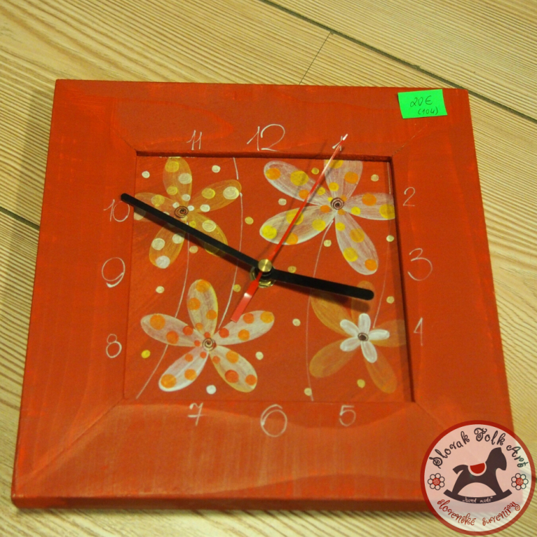 Wall clock Flowers red