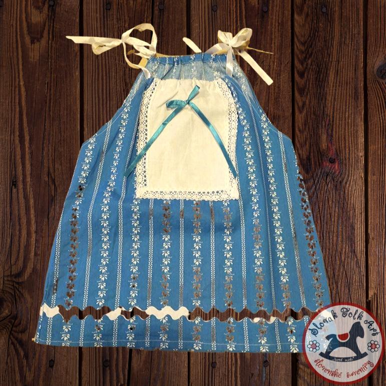 Dievčenské šaty Modrý ľan