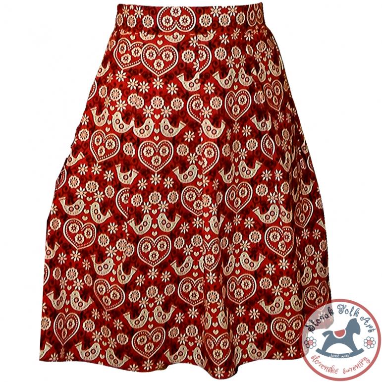 Sukňa Folk vzorovaná (červená)