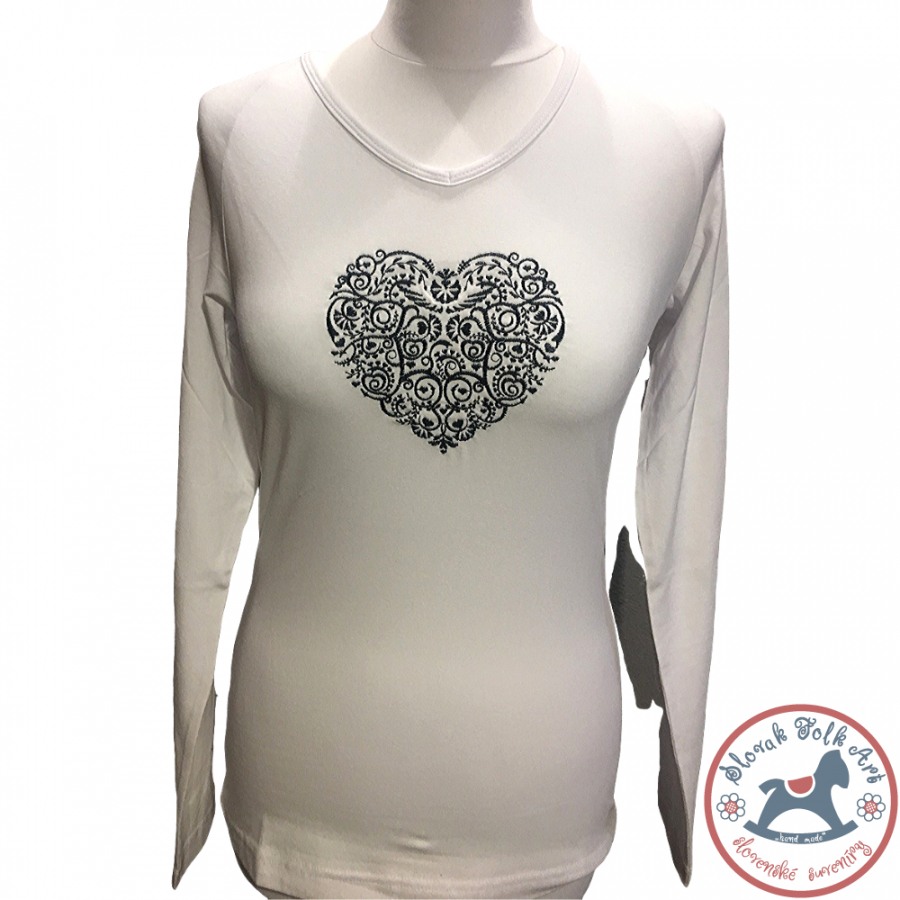 Dámske tričko Vyšívané srdce (dlhý rukáv)