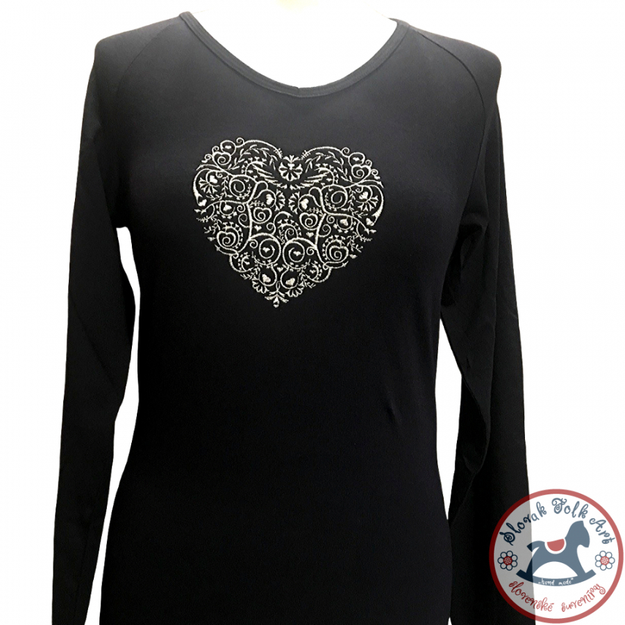 Women's T-shirt Embroidered Heart (long sleeve)