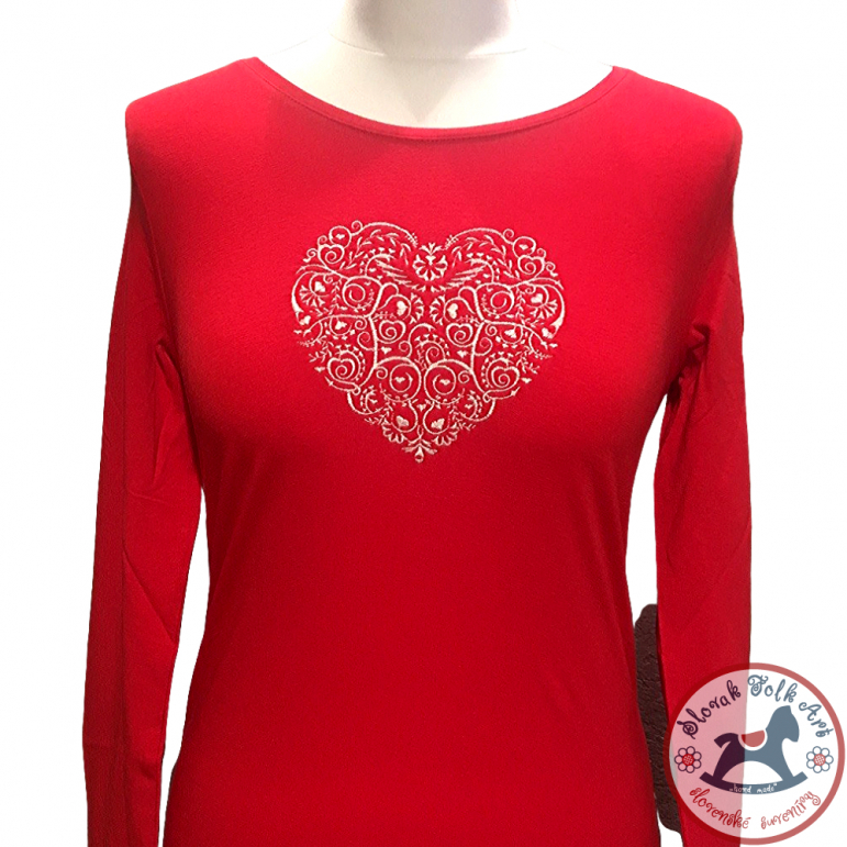 Women´s T-shirt Folk (red) Women's T-shirt Embroidered Heart (Long Sleeve)