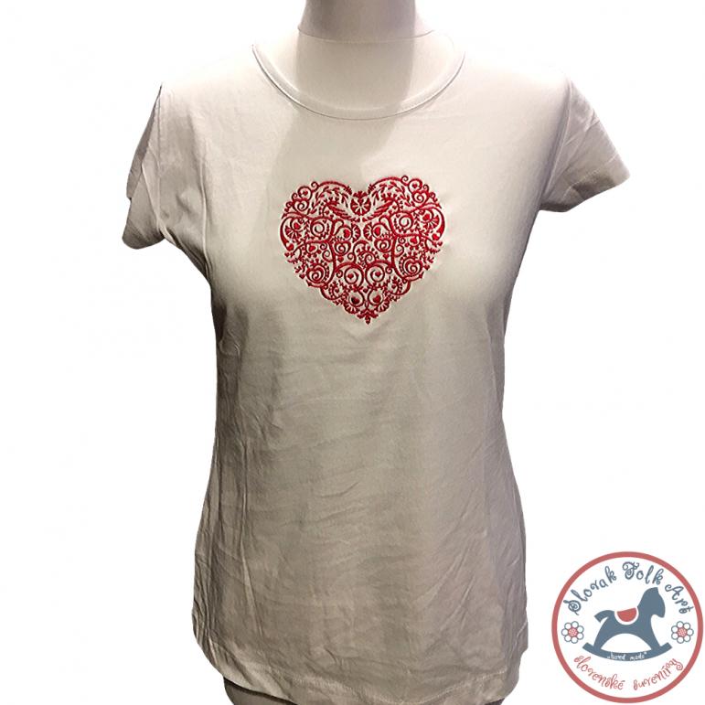 Women's T-shirt Embroidered Heart (Short Sleeve)