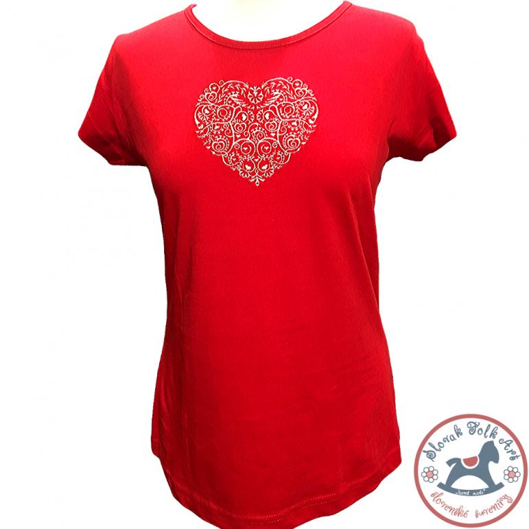 Dámske tričko Vyšívané srdce (krátky rukáv)