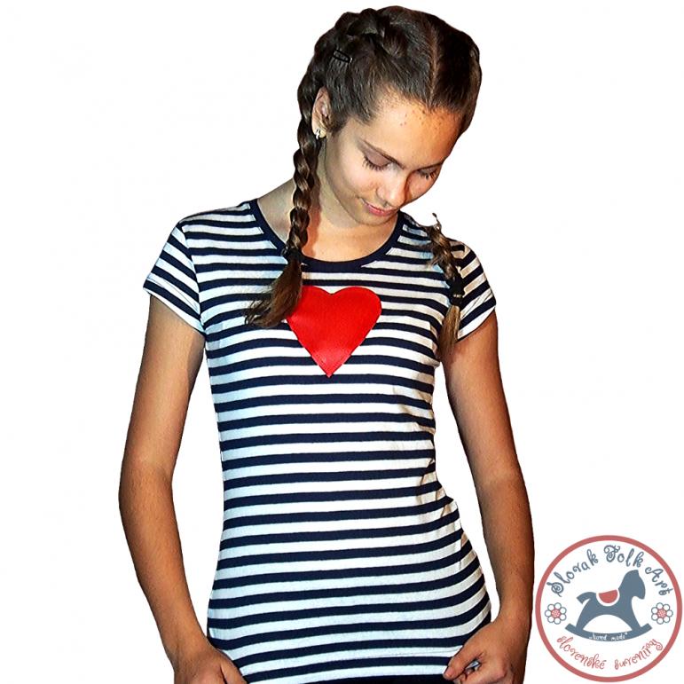 Dámske pískacie tričko (červené srdiečko)