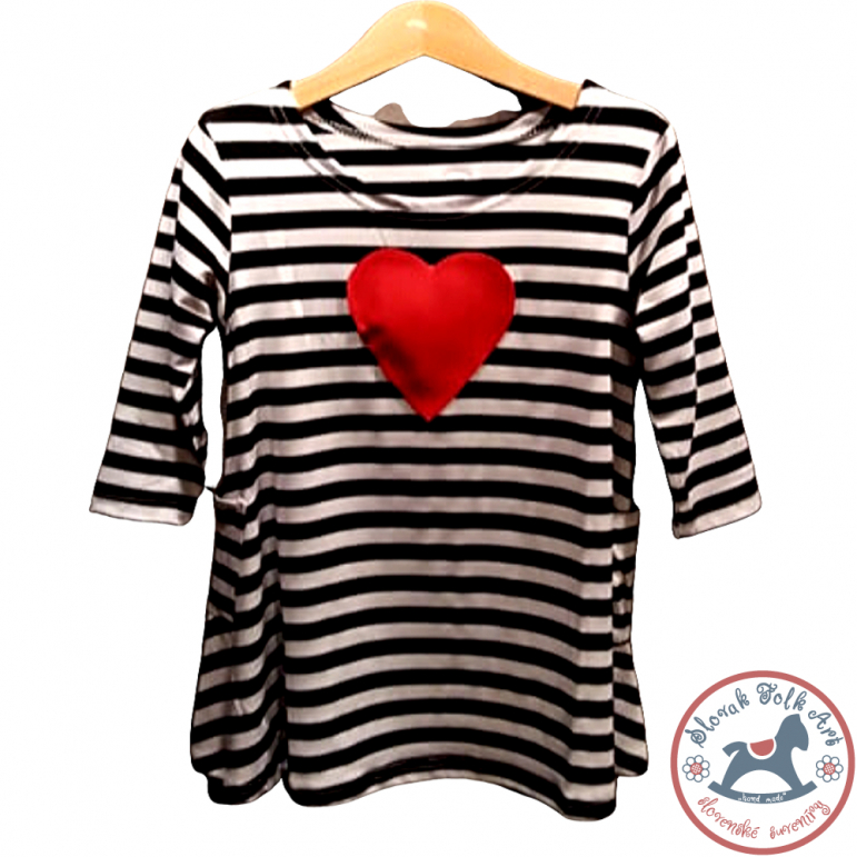 Girls's whistling T-shirt (striped with heart)