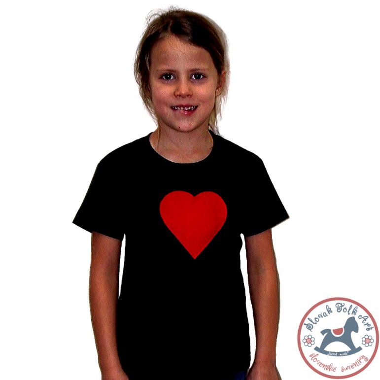 Detské písakajúce tričko Červené srdce