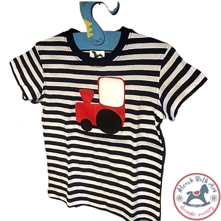 Children's whistling T-shirt (striped with train)