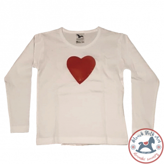 Children's whistling t-shirt white (train, bird, heart)