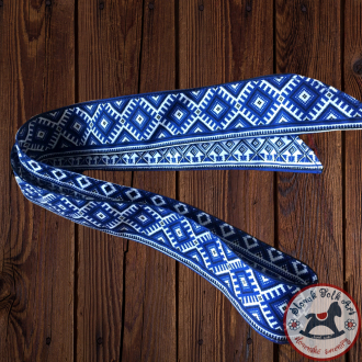 Folk hair ribbon (blue)