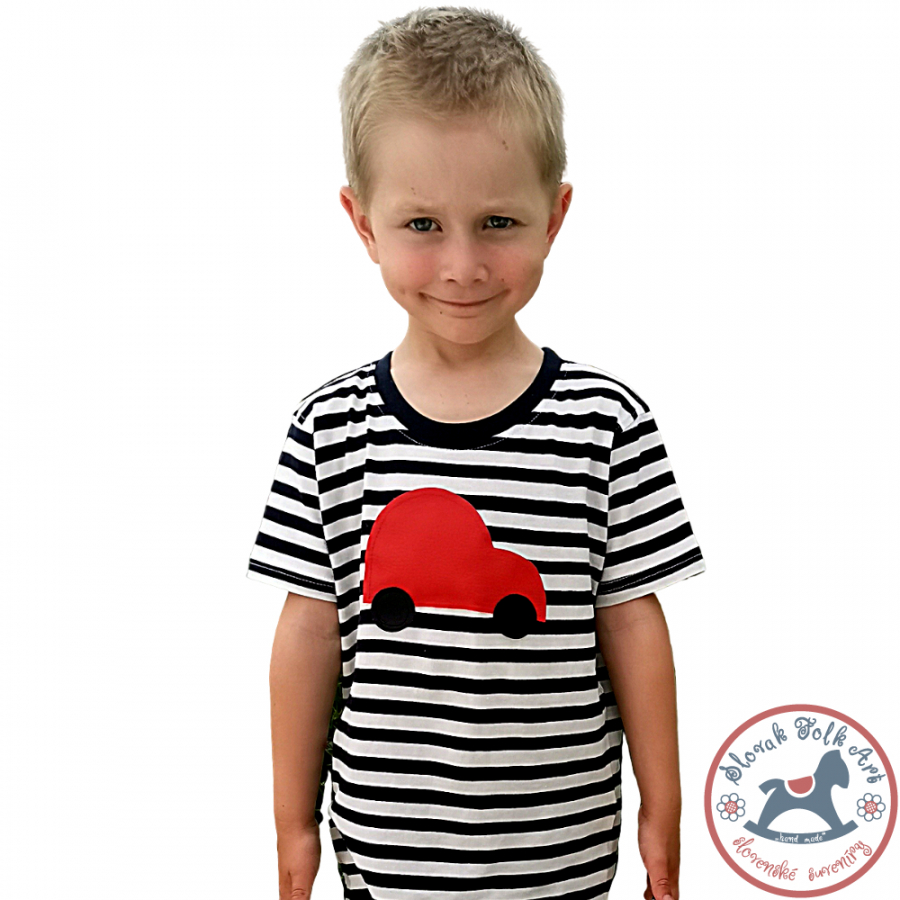 Children's whistling T-shirt (striped with car)