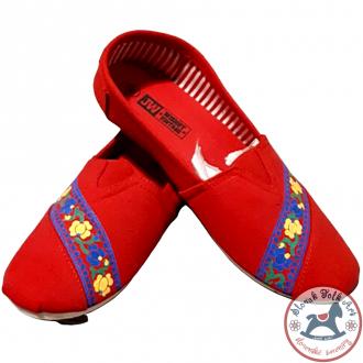 Dámske folklórne baleríny Krpčiatka FolkArt (červené)