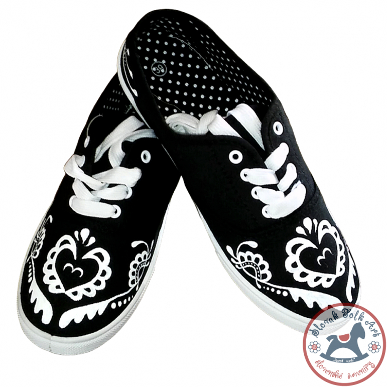 Women's black folklore sneakers with white ornament