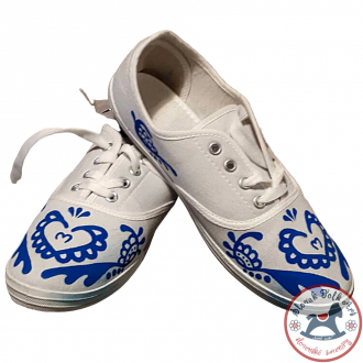 Women's white folklore sneakers with blue ornament