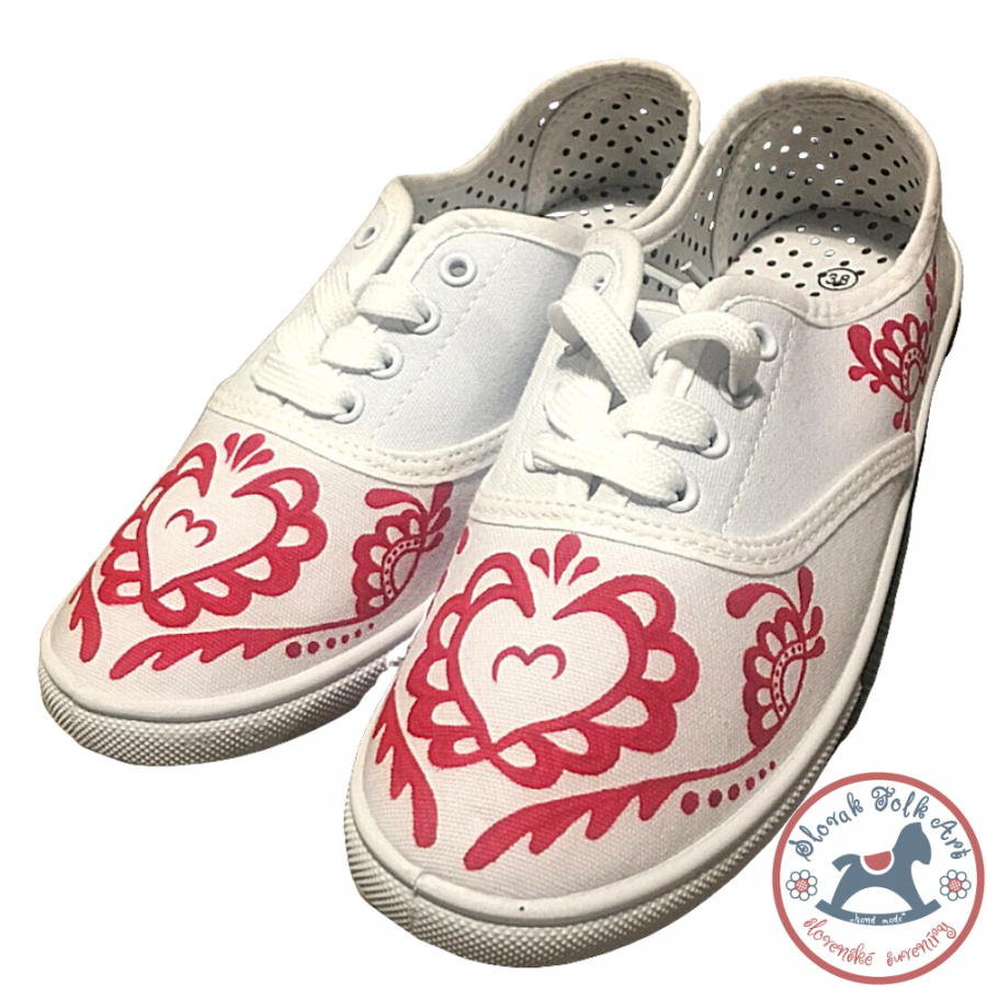 Women's white folklore sneakers with red ornament