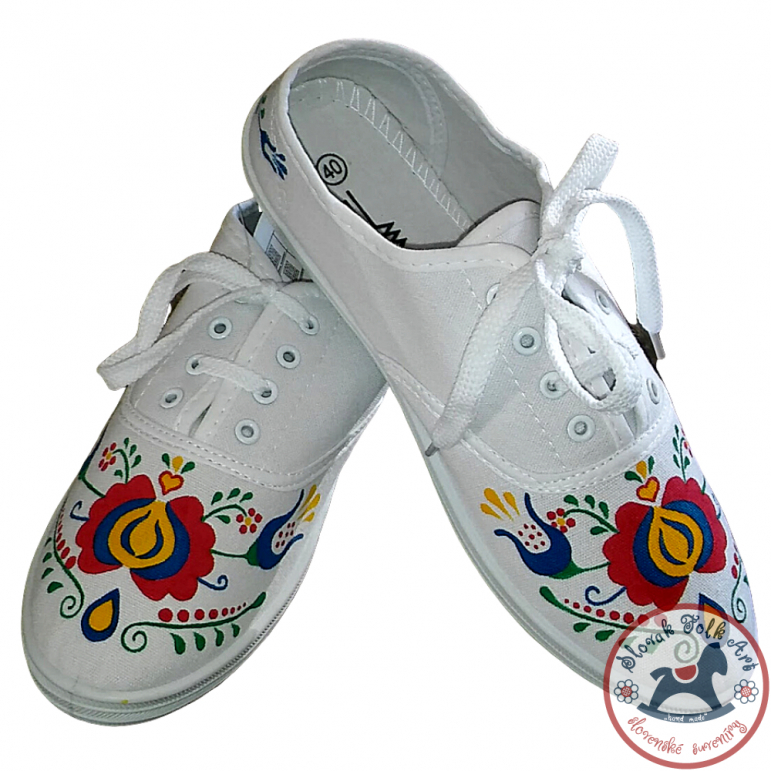 Women's white folklore sneakers with colorful ornament