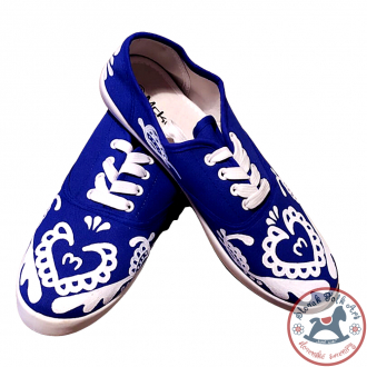 Women's white folklore sneakers (royal blue)