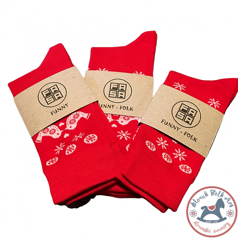 Folklórne ponožky Fasa (červené)