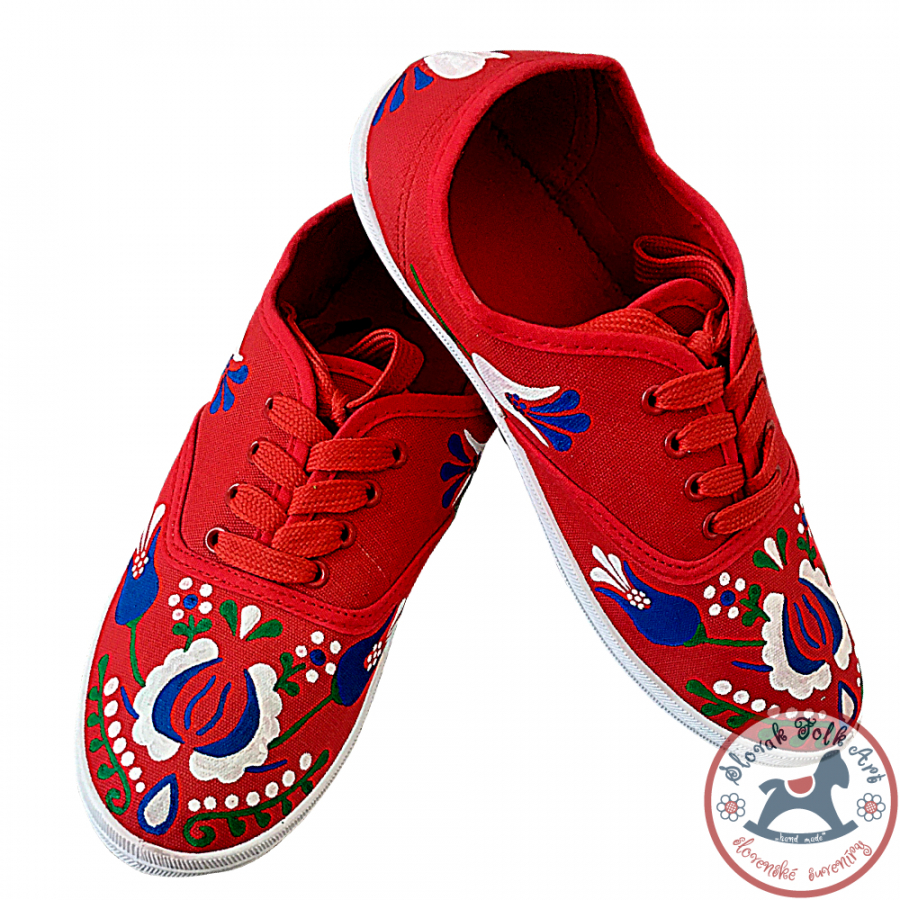 Women's folklore sneakers red with color ornament