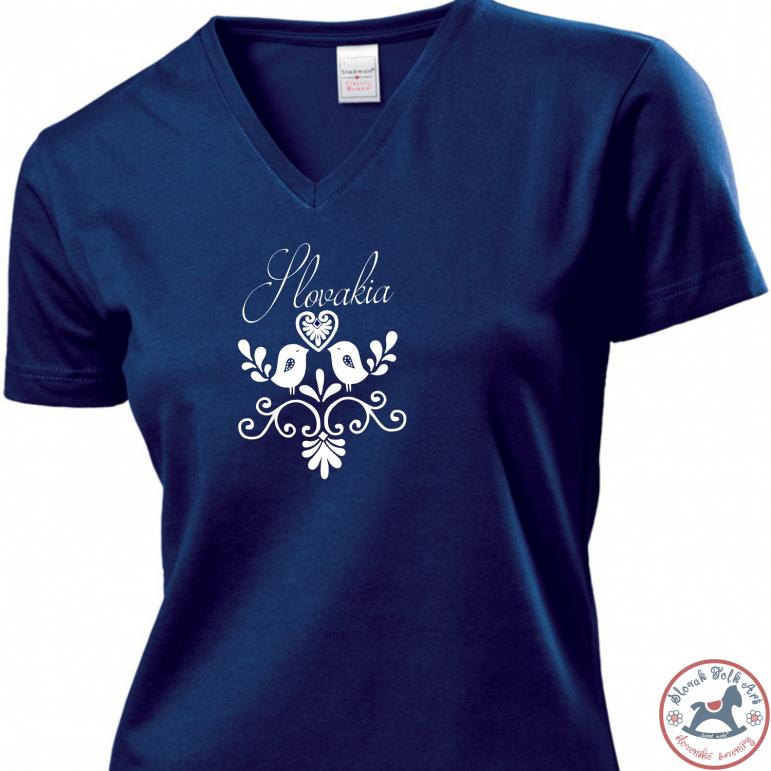 Dámske tričko Vtáčik (modré)