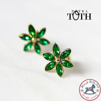 Earrings FOLKIE green flowers Bird
