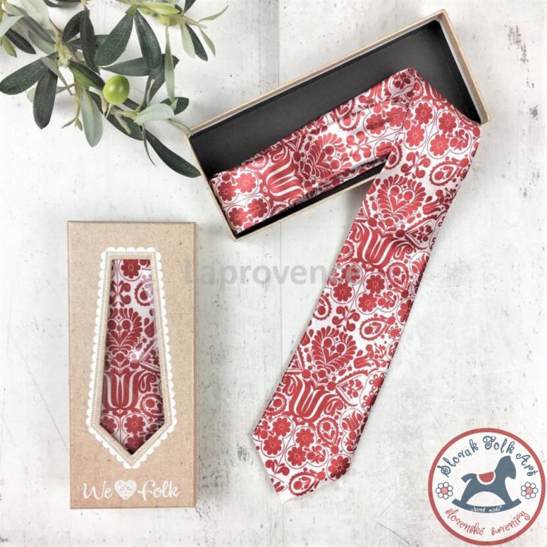 Tie with folk motif (red)
