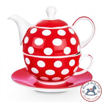 Tea set 3pcs dot (red)